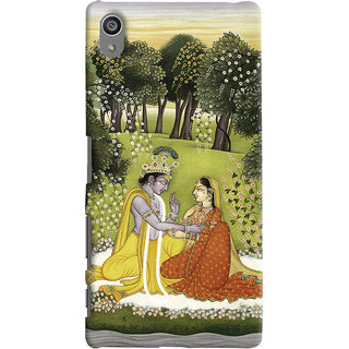 Oyehoye Sony Xperia Z5 Plus/ Z5 Premium Mobile Phone Back Cover With Vintage Radhe Krishna Art - Durable Matte Finish Hard Plastic Slim Case