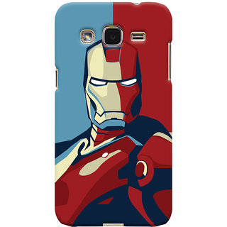 Oyehoye Samsung Galaxy J2 Mobile Phone Back Cover With Iron Man - Durable Matte Finish Hard Plastic Slim Case