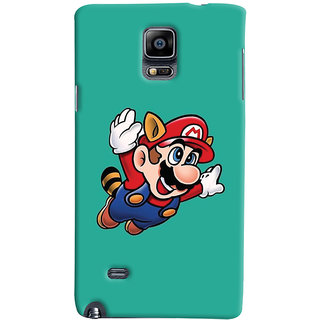 Oyehoye Samsung Galaxy Note 4 Mobile Phone Back Cover With Super Mario - Durable Matte Finish Hard Plastic Slim Case