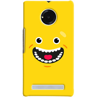 Oyehoye Micromax Yuphoria Mobile Phone Back Cover With Smiley Happy Expression - Durable Matte Finish Hard Plastic Slim Case