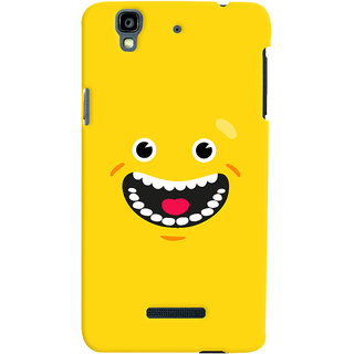Oyehoye Micromax Yureka Plus Mobile Phone Back Cover With Smiley Happy Expression - Durable Matte Finish Hard Plastic Slim Case