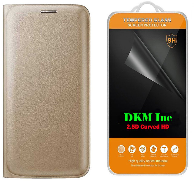 new styles 6ecb2 f669b Golden Leather Flip Cover for Gionee F103 Pro with 25D HD Tempered Glass