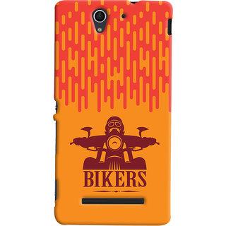 Oyehoye Sony Xperia C3 / Dual Sim Mobile Phone Back Cover With Bikers Style - Durable Matte Finish Hard Plastic Slim Case