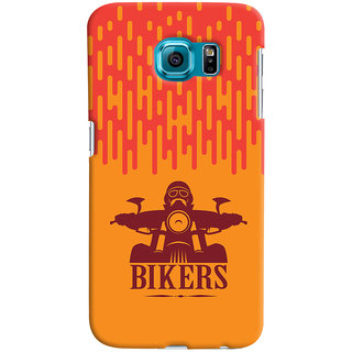 Oyehoye Samsung Galaxy S6 Mobile Phone Back Cover With Bikers Style - Durable Matte Finish Hard Plastic Slim Case