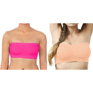Bahucharaji Creation Dark Pink  Light Orange Color Free Size None Padded Tube Combo Bra(Fit Bust Size Between 30 To 36(A  B))