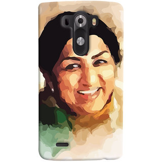 Oyehoye LG G3/ Optimus G3 Mobile Phone Back Cover With Lata Mangeshkar - Durable Matte Finish Hard Plastic Slim Case