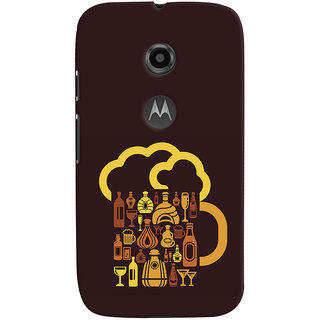 Oyehoye Motorola Moto E2 Mobile Phone Back Cover With Abstract Art - Durable Matte Finish Hard Plastic Slim Case