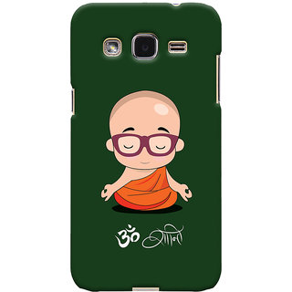 Oyehoye Samsung Galaxy J2 Mobile Phone Back Cover With Om Shanti Quirky - Durable Matte Finish Hard Plastic Slim Case