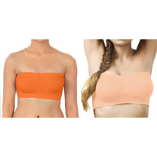 Bahucharaji Creation Orange  Light Orange Color Free Size None Padded Tube Combo Bra(Fit Bust Size Between 30 To 36(A  B))