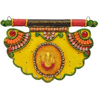 Wooden  Paper Mache Pankhi Shape Ganesha Key Holder