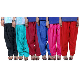 IndiWeaves Women's Cotton Patiala Salwar Combo 6 (Pack of 6 Salwar)