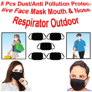 Set Of 5 Black Anti-Pollution Dust Cotton Mouth Nose Face Winter Masks CODEDY-8149