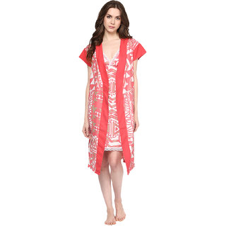 Athena pink printed night robe