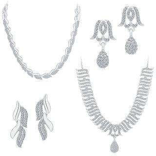 Sukkhi Sublime Rhodium Plated AD Set of 2 Necklace Set Combo For Women