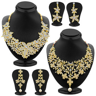 Sukkhi Glorious Gold Plated AD Set of 2 Necklace Set Combo For Women
