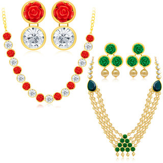 Sukkhi Designer Gold Plated AD Set of 2 Necklace Set Combo For Women