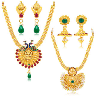 Sukkhi Gold Plated Bridal/Wedding Combo of 2 Necklace & 2 Pair of Earring For Women
