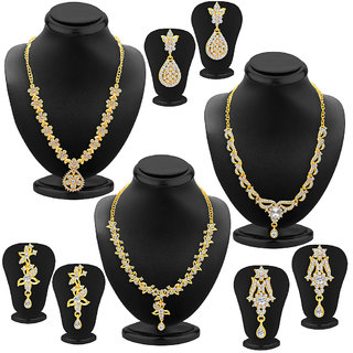 Sukkhi Alluring Gold Plated AD Set of 3 Necklace Set Combo For Women
