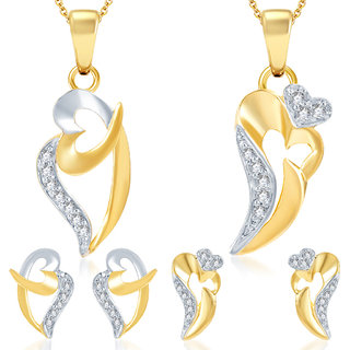 Sukkhi Brilliant Heart Gold Plated CZ Set of 2 Pendant Set Combo For Women
