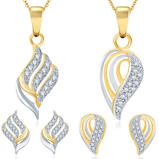 Sukkhi Magnificent Gold Plated CZ Set of 2 Pendant Set Combo For Women