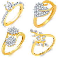 Sukkhi Gold Cubic Zirconia (CZ) Wedding Alloy Gold Plated Contemporary Ring (Set of 4)