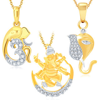 Sukkhi Gold Plated Gold Alloy Pendant- Set of 3 With Chain Combo Only for Women