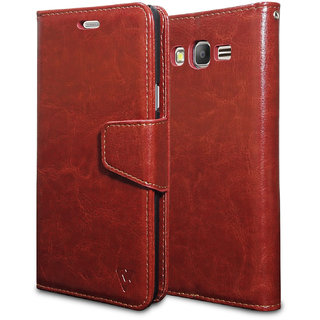 Ceego Luxuria Wallet Flip Cover for Samsung Galaxy On7 Pro - Ultra Compact with Credit Card Slots  Wallet - Classic Business Style Samsung On 7 Pro Flip Case (Walnut Brown)