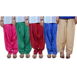 Indistar Women's Cotton Patiala Salwar Combo 5 (Pack of 5 Salwar)