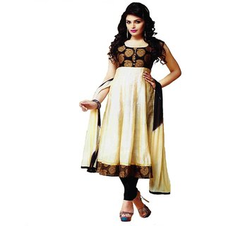 Womens Semi Stitched Cream & Black Anarkali Suit