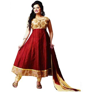 Womens Semi Stitched Red & Yellow Anarkali Suit