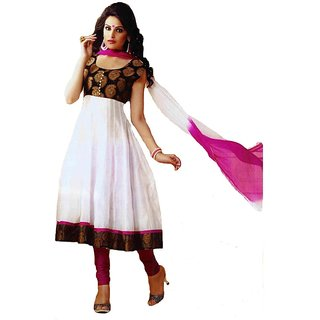 Womens Semi Stitched Black & White Anarkali Suit