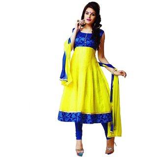 Womens Semi Stitched Blue & Yellow Anarkali Suit