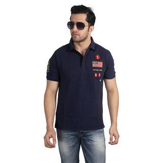 Nostrum Jeans Navy Blue Cotton T-shirt