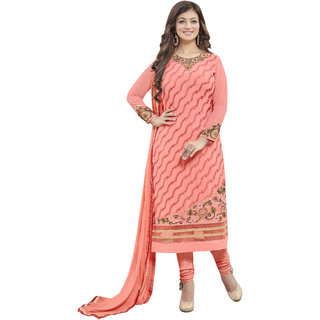 1c0c432781 Kalish Light Pink Color Faux Georgette Embroidered Dress Material