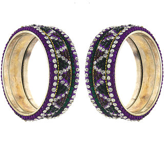 Anuradha Art Golden Finish Styled With Purple  Green Colour Bangles Set For Women