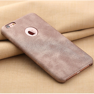 Apple iPhone 6 / 6S Ultra Thin Logo Display Grained PU Leather Case Back Cover  Beige