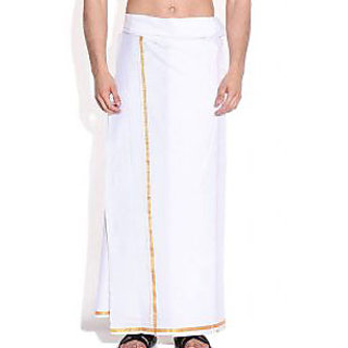 Mens Cotton Dhoti With Golden Border