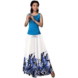 Thankar White  Blue Printed Faux Georgette Skirt