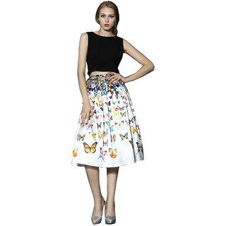 Thankar White Printed Crepe Skirt