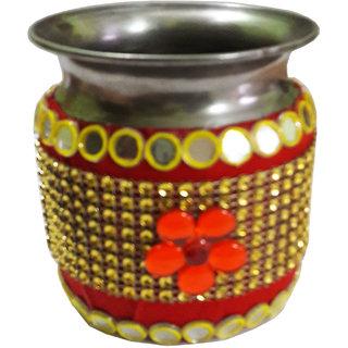 Decorated Handmade Golden Stone Work Pooja Kalash/Lota 4 Inches