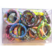 Multicolour Hair Pony Tail Holder Rubber Band - Neon Prints BOX (24 Rubbers Multi Colour And Print)
