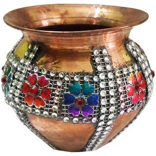 Decorated Handmade Silver Stone Work Pooja Kalash 4 Inches