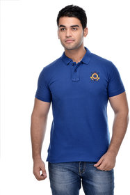 Surly Royal Blue Solid Polo T-Shirt with Embroidery