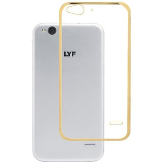 Back Cover for Reliance LYF Jio Water 1 (Transparent with Golden Boundry)