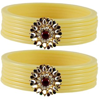 Cream Stone Acrylic-Brass Bangle