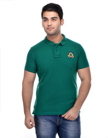Surly Green Solid Polo T-Shirt with Embroidery