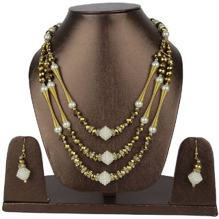 Aarika Multicolour Three Layered Premium Necklace Set For Women and Girls