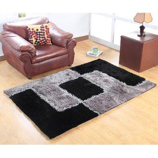 Designer Polyester Shaggy Carpet - 3 feet X 5 feet, Black  Grey
