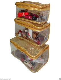 Atorakushon set of 3 Jewellery Jewelry Makeup Kit Vanity pouch Case Cosmetic Toiletry Bag