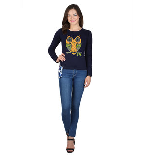 SayItLoud Full Sleeve Navy blue Colour Printed Women's Tshirt